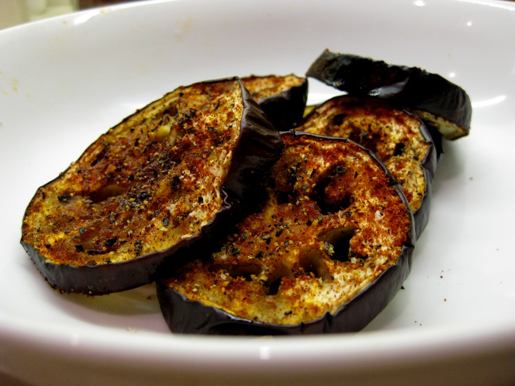 roast spiced aubergines